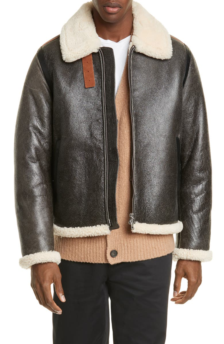 ACNE STUDIOS Messhe1 Leather Bomber Jacket with Genuine Shearling Trim, Main, color, DARK BROWN