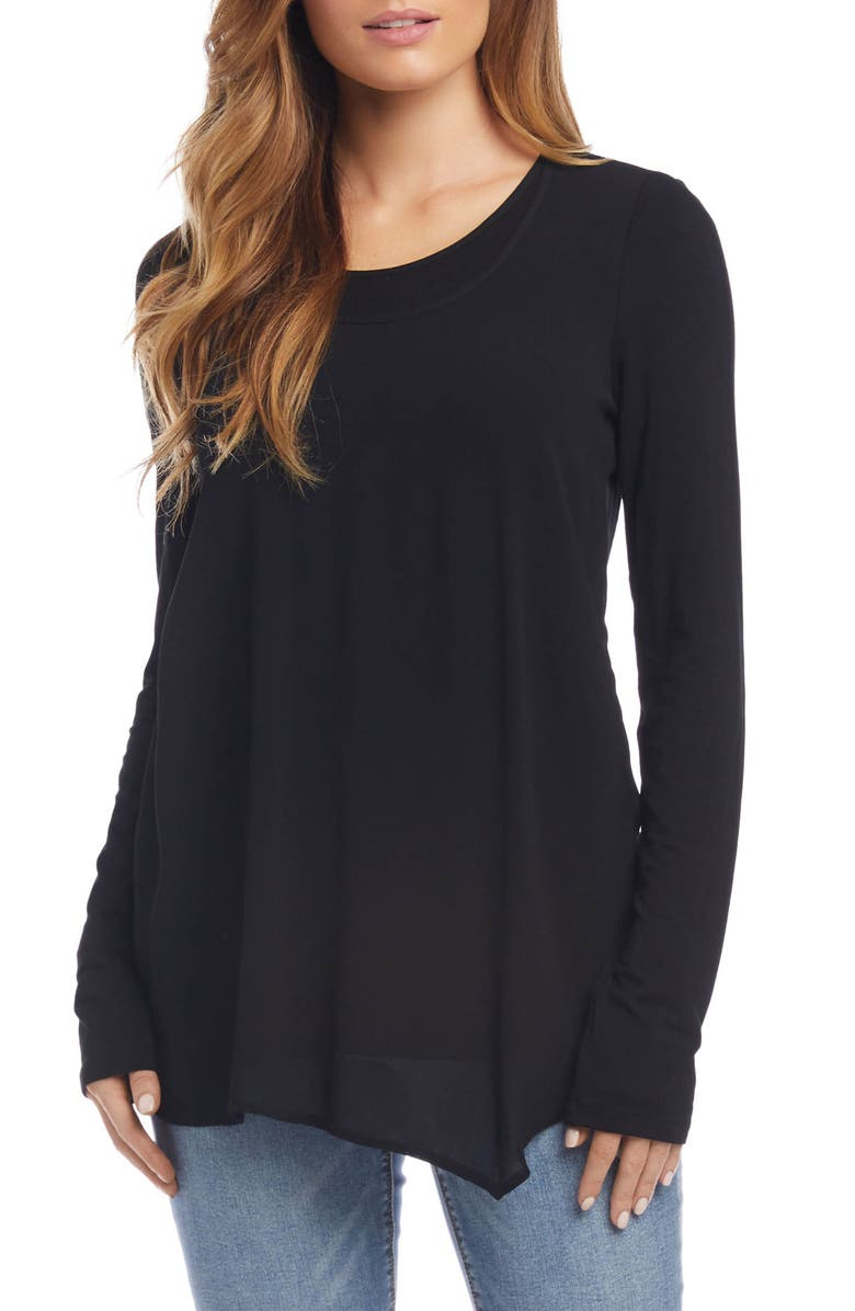 KAREN KANE Overlay Top, Main, color, BLACK