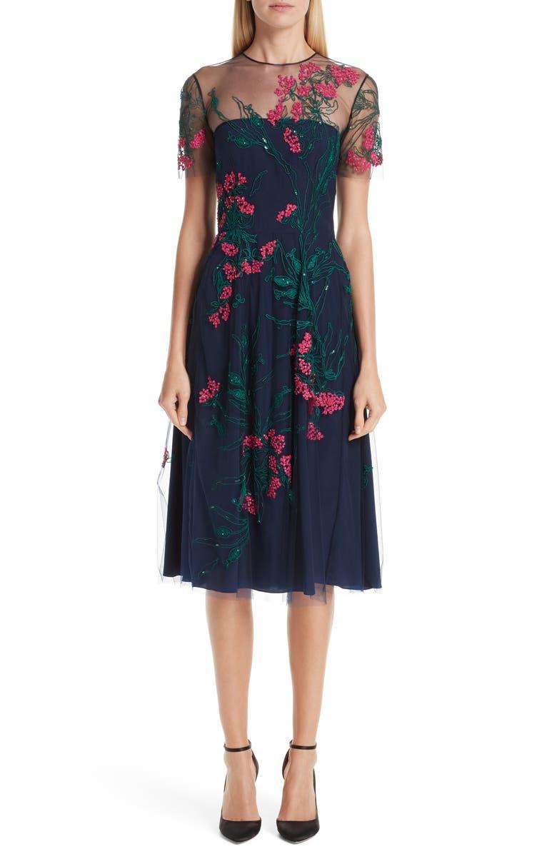 CAROLINA HERRERA Floral Cocktail Dress, Main, color, 001