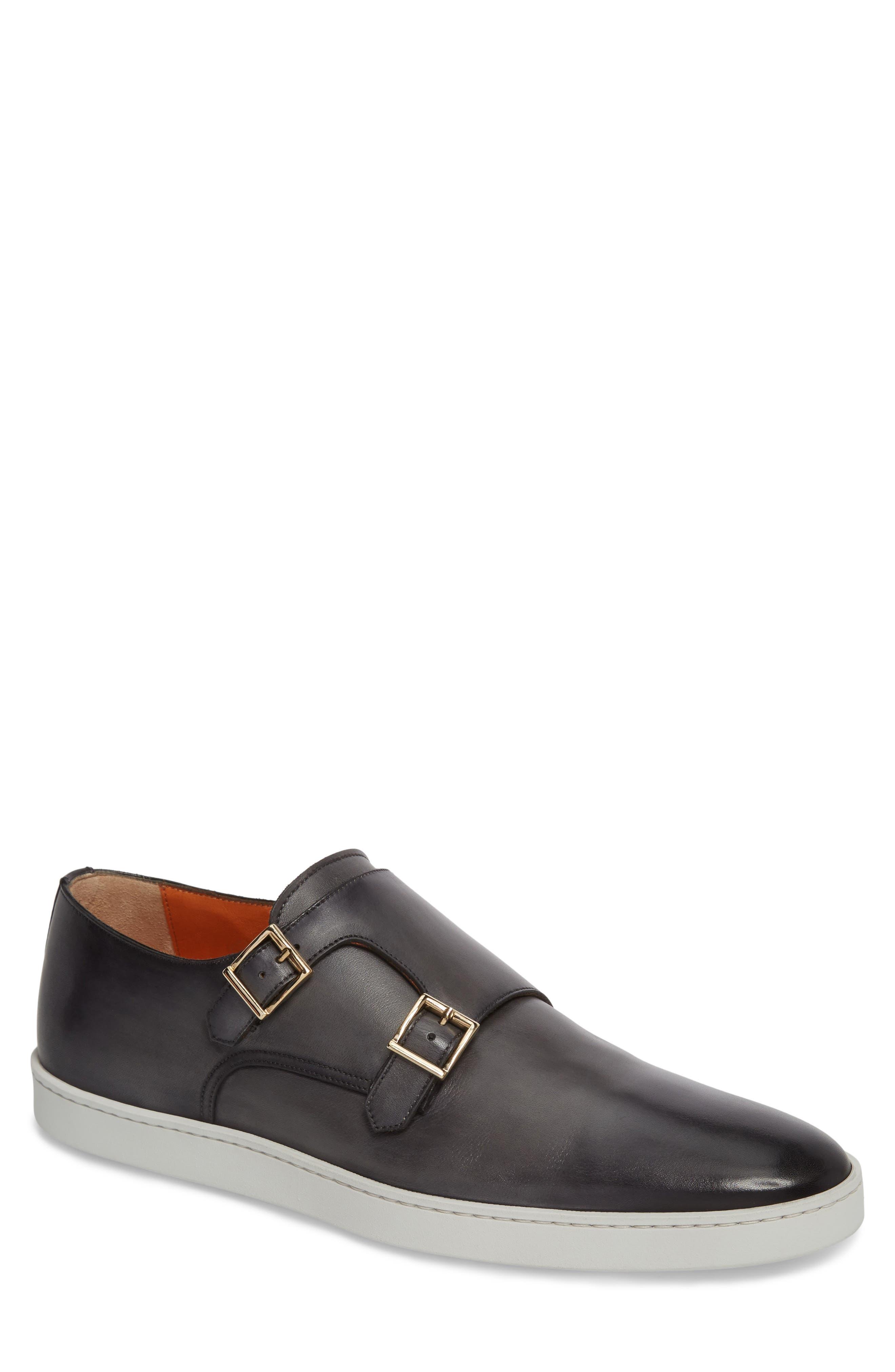 Fremont Double Monk Strap Shoe, Main, color, GREY