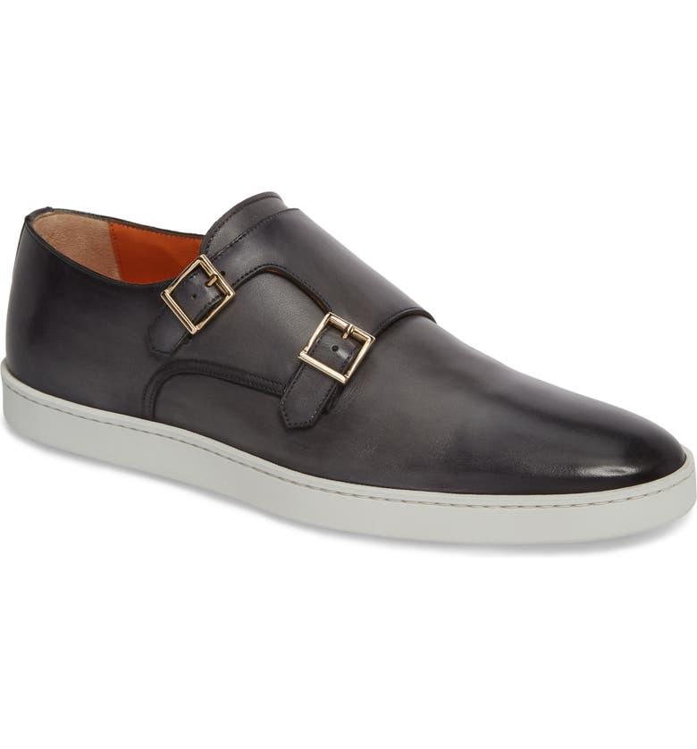 SANTONI Fremont Double Monk Strap Shoe, Main, color, GREY