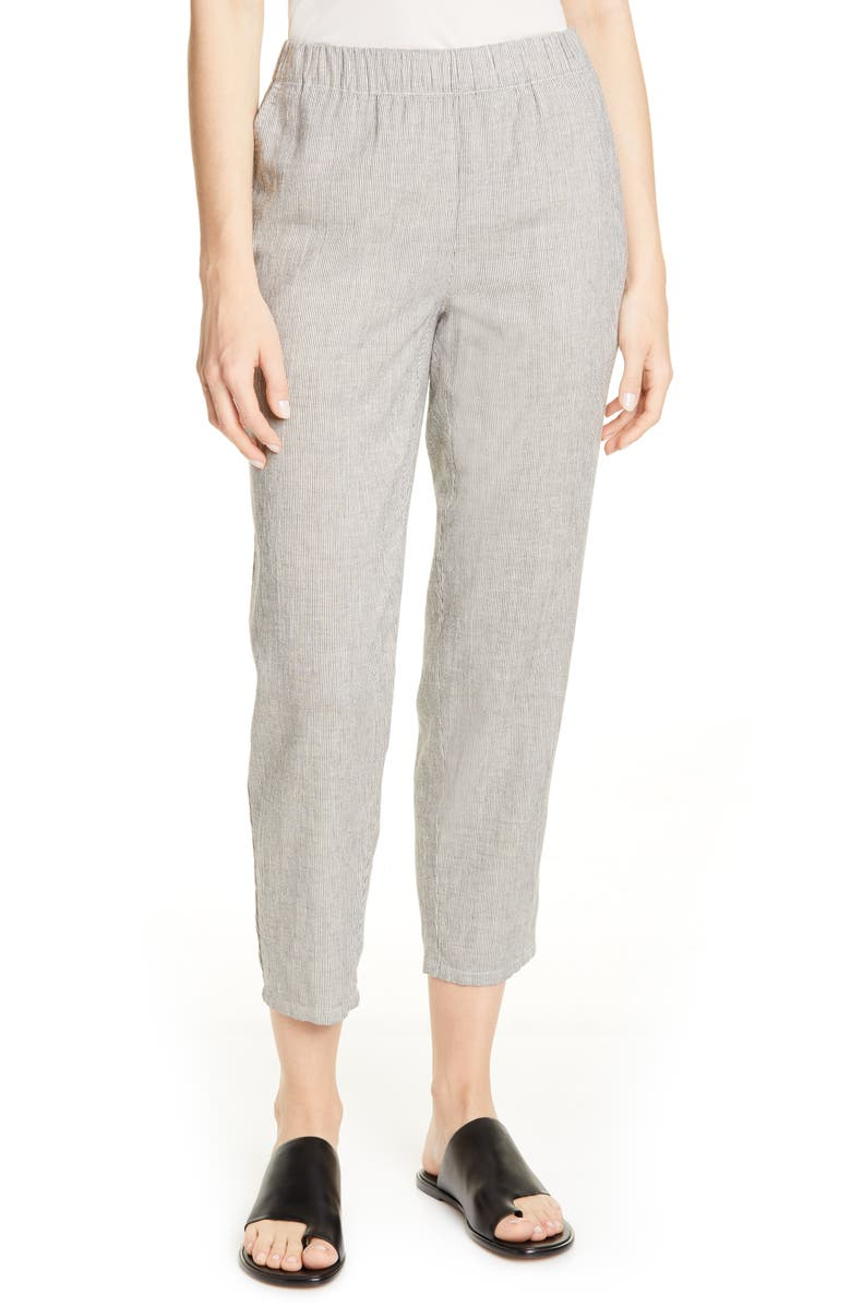 EILEEN FISHER Tapered Stripe Organic Cotton Blend Pants, Main, color, BLACK SOFT WHITE