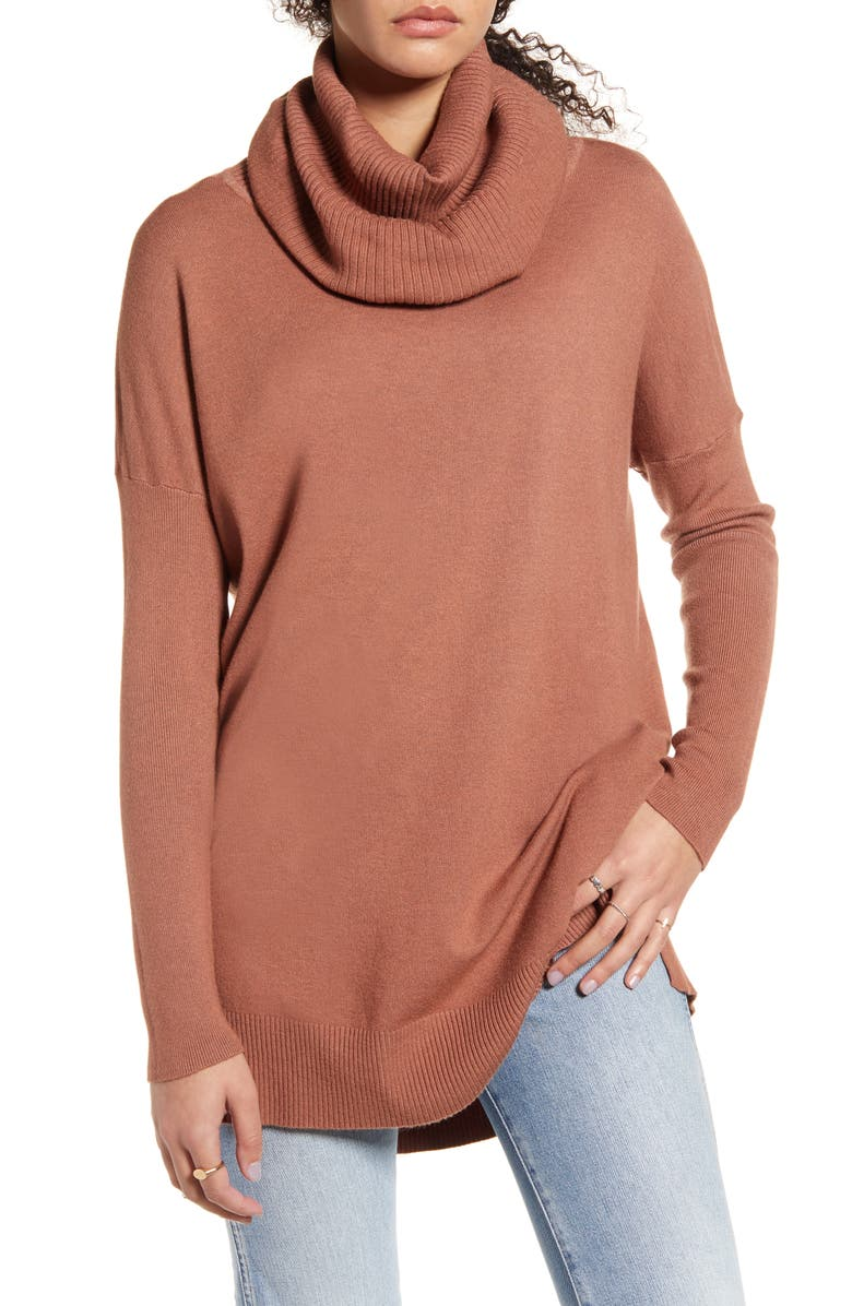 DREAMERS BY DEBUT Cowl Neck Tunic, Main, color, HEATHER GINGER