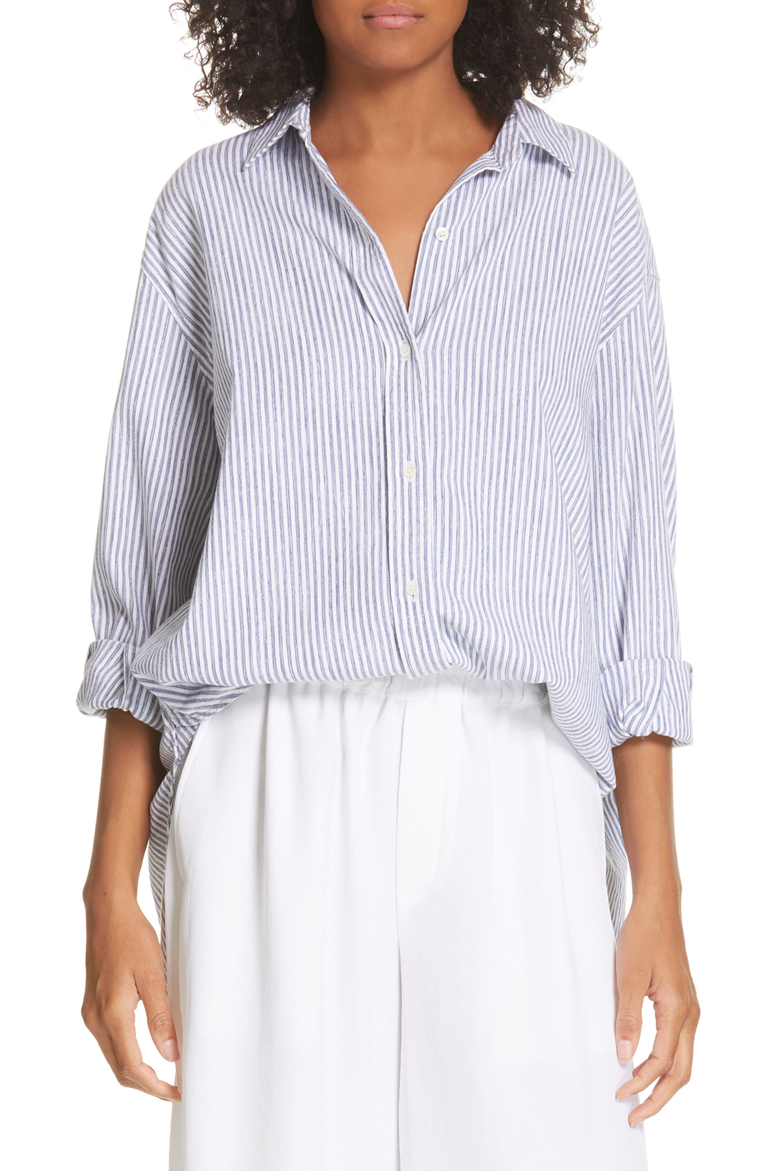 ,                             Stripe Oversize Cotton Blend Blouse,                             Main thumbnail 1, color,                             INDIGO