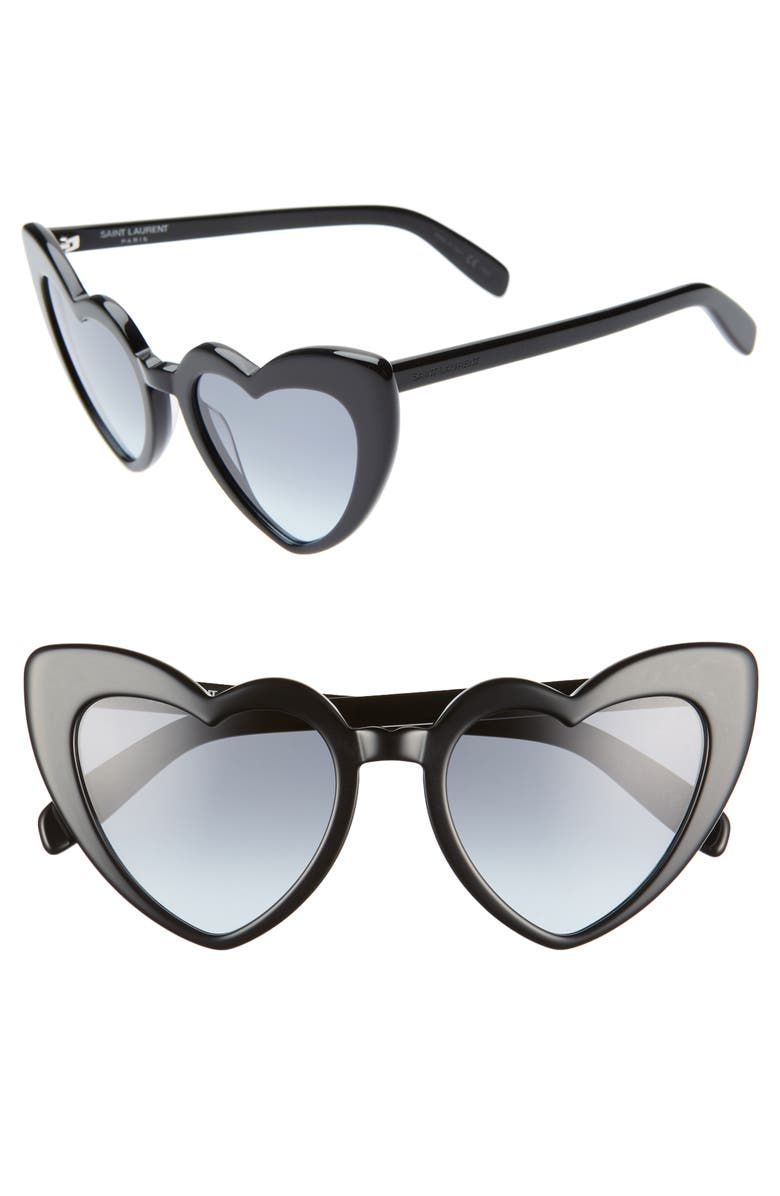SAINT LAURENT Loulou 54mm Heart Sunglasses, Main, color, BLACK/ GREY BLUE GRADIENT