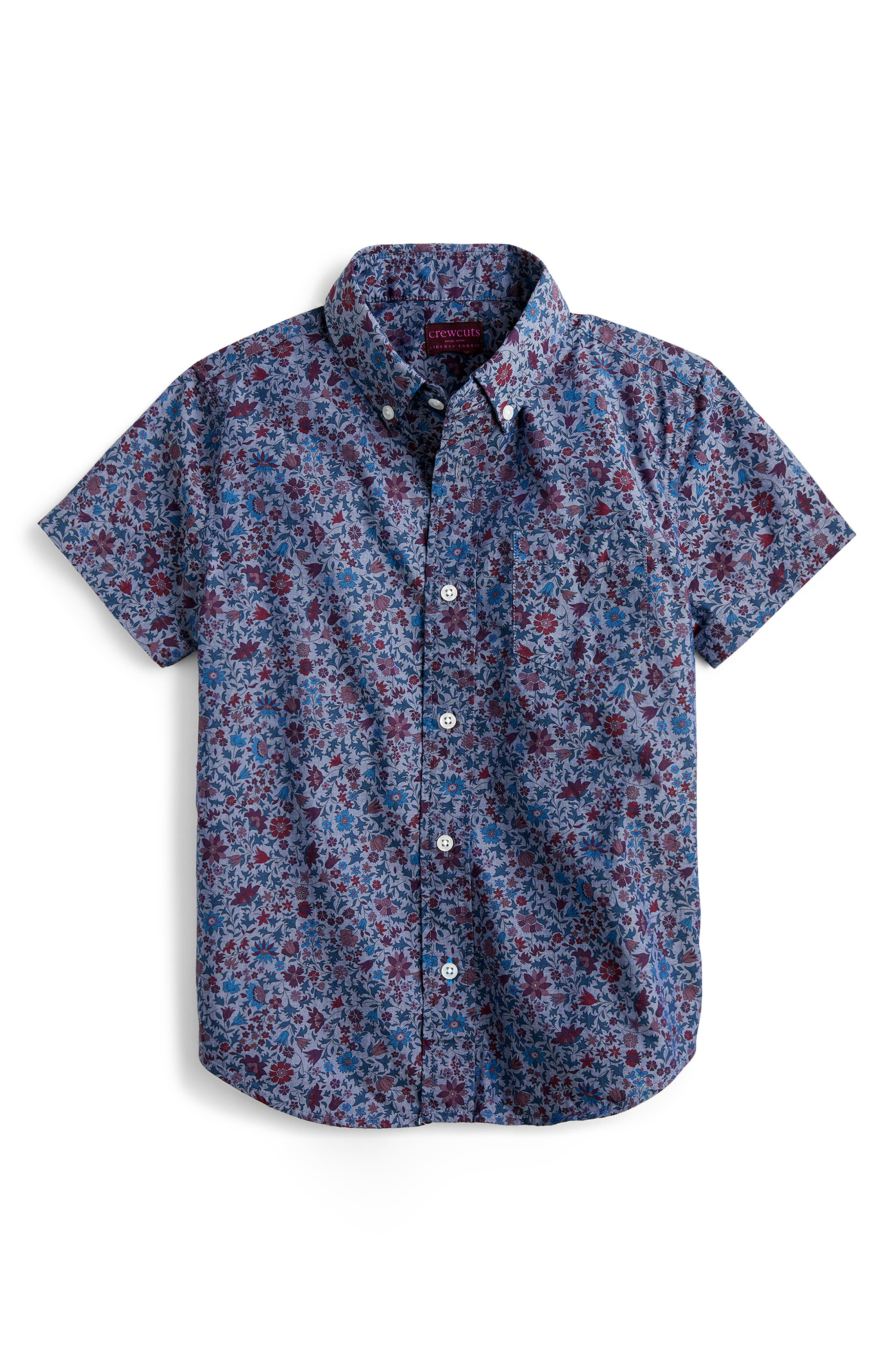 Toddler Boys Crewcuts By Jcrew Liberty Colombo Short Sleeve ButtonDown Shirt Size 2T  Blue