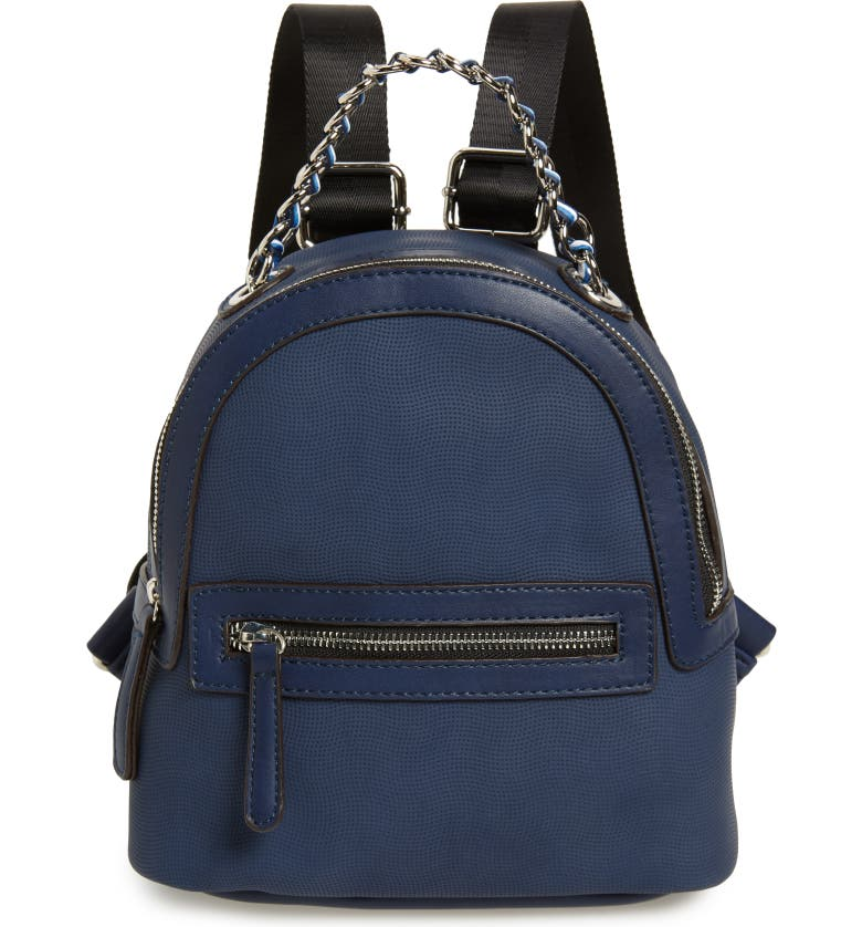 SONDRA ROBERTS Faux Leather Backpack, Main, color, NAVY