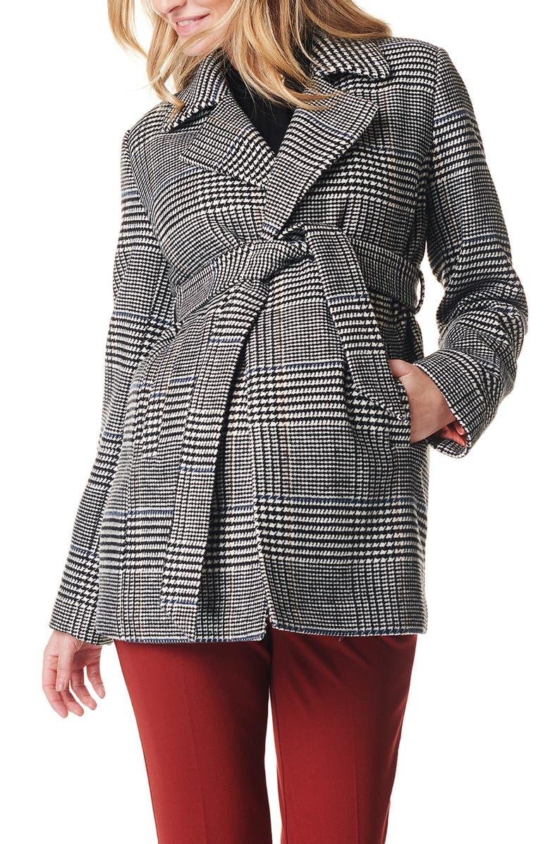 NOPPIES Kleoh Check Maternity Coat, Main, color, LIGHT GREY MELANGE