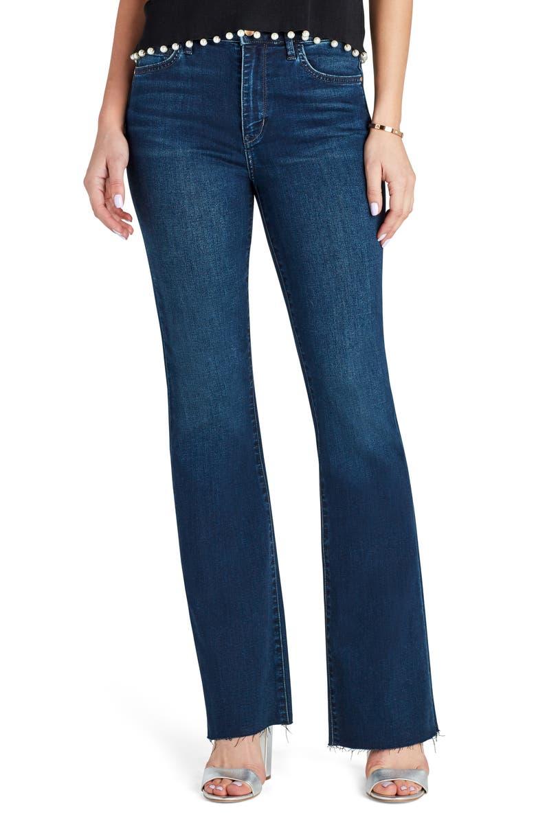SAM EDELMAN The Stiletto Raw Hem High Waist Bootcut Jeans, Main, color, AGATHA