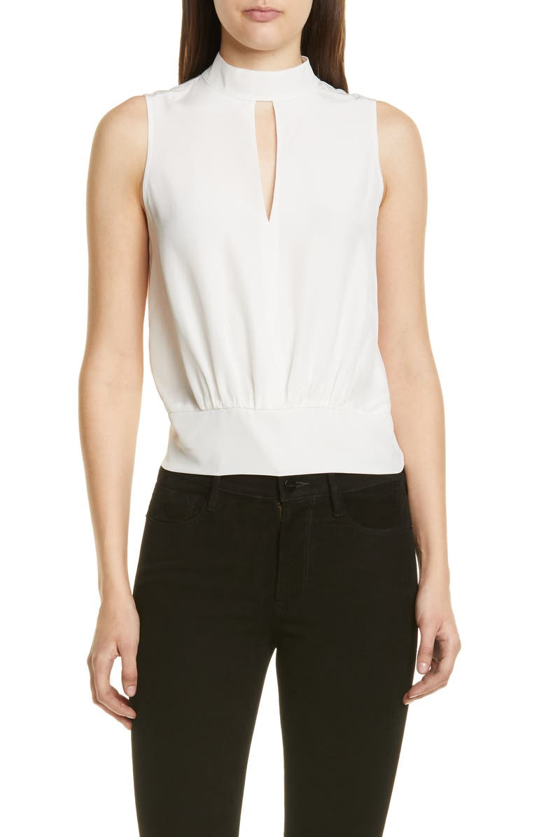 FRAME Keyhole Silk Tank, Main, color, BLANC