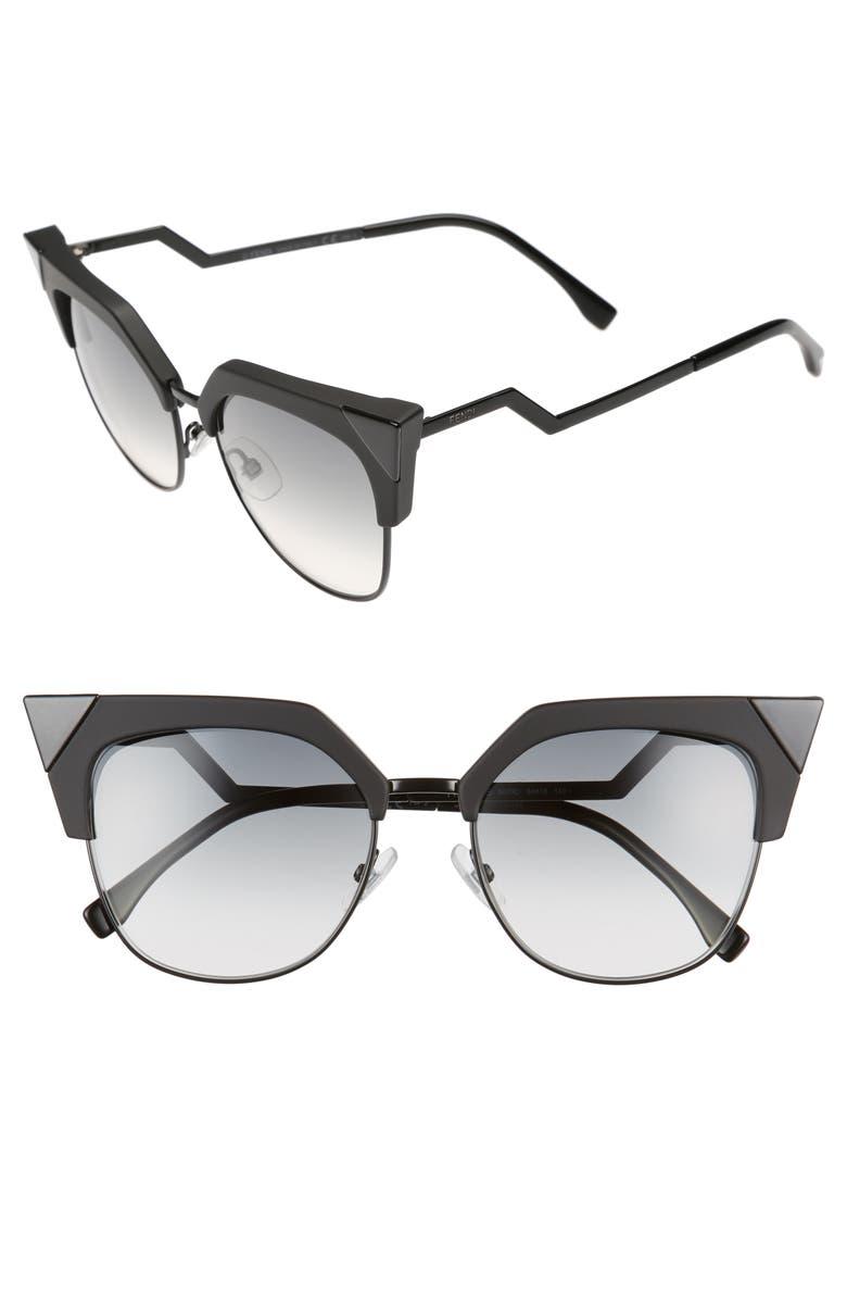 FENDI 54mm Metal Tipped Cat Eye Sunglasses, Main, color, 003