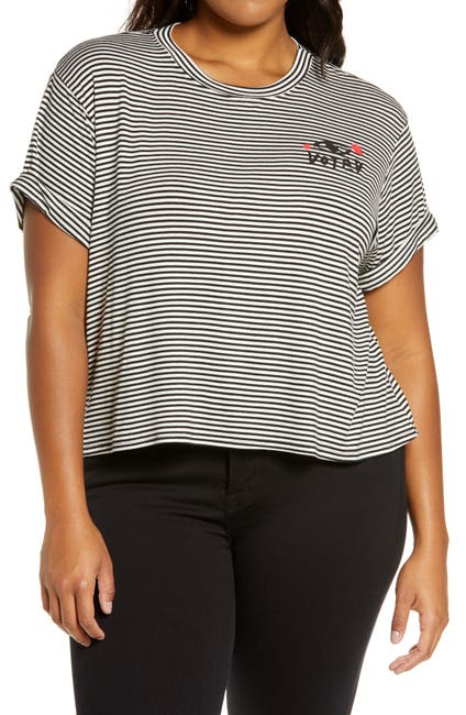 Image of BP. Stripe Crop Vote T-Shirt