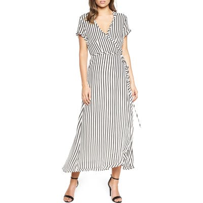 Bardot Adie Stripe Midi Wrap Dress, Black