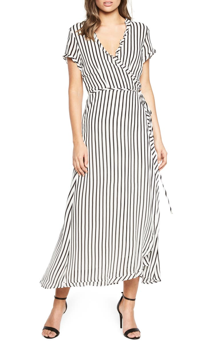BARDOT Adie Stripe Midi Wrap Dress, Main, color, 013