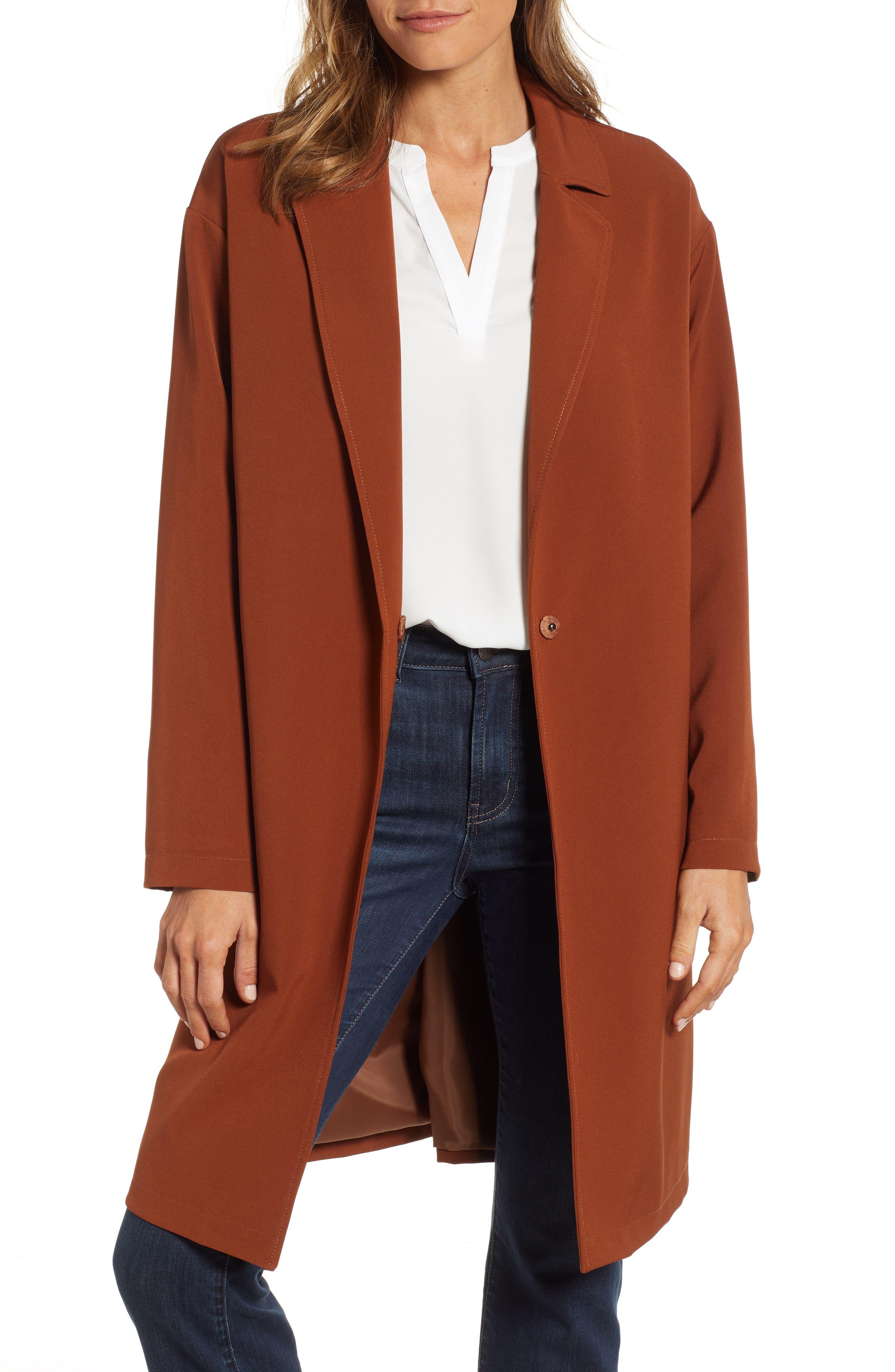 Crepe Oversize Car Coat, Main, color, BRICK