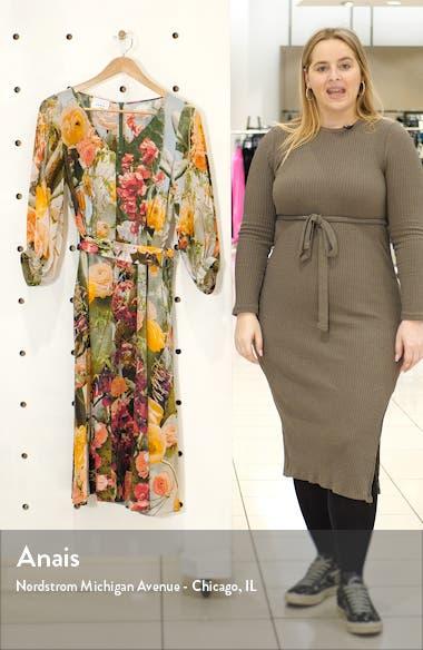 Cactus Blossom Print Silk Crepe Midi Dress, sales video thumbnail