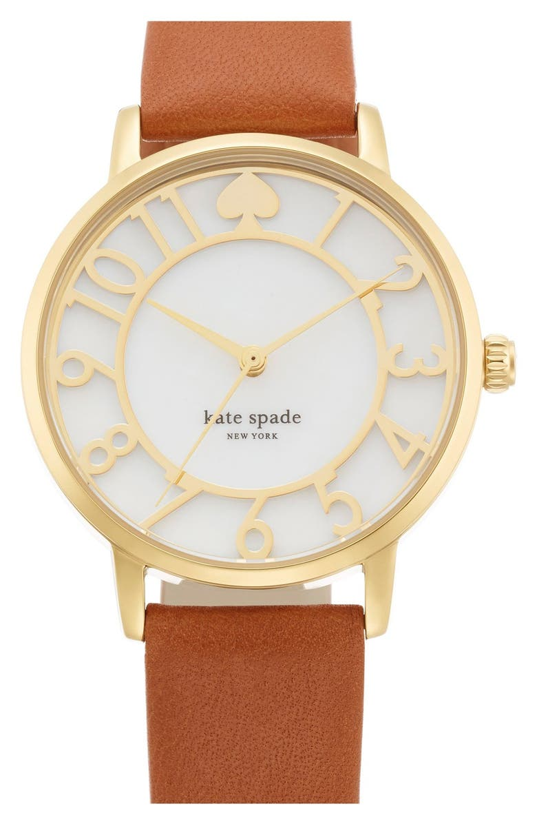 KATE SPADE NEW YORK 'metro' mother-of-pearl leather strap watch, 34mm, Main, color, 200