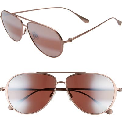 Maui Jim Shallows Polarizedplus2 5m Aviator Sunglasses - Satin Brown/ Red