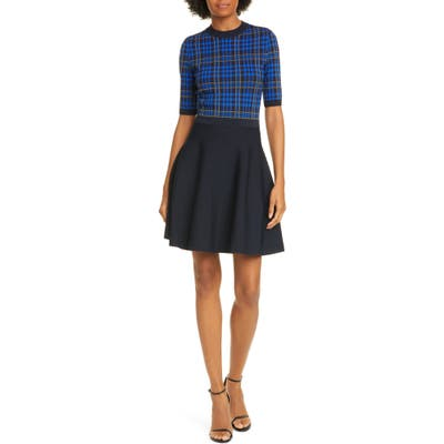 Ted Baker London Nilar Check Skater Dress, (fits like 4-6 US) - Blue
