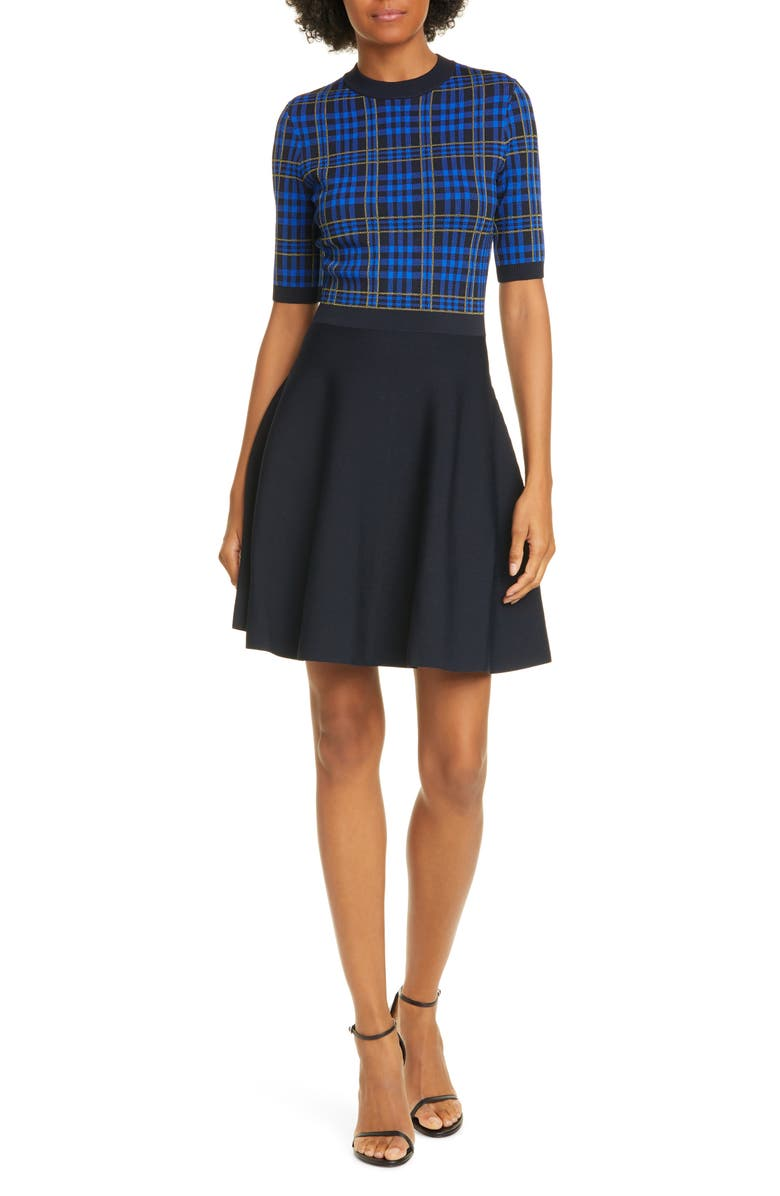 TED BAKER LONDON Nilar Check Skater Dress, Main, color, BLUE