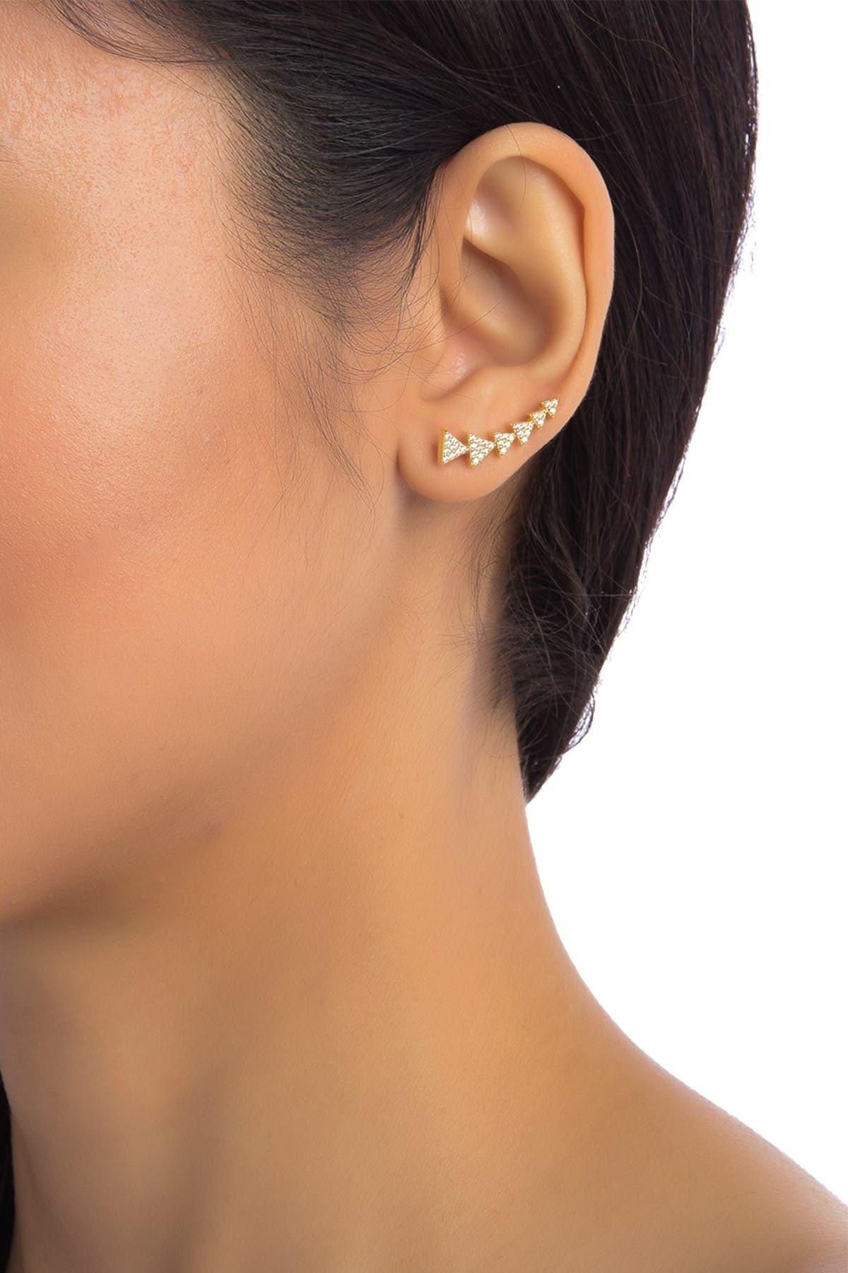 Image of ADORNIA 14K Yellow Gold Vermeil Crystal Arrow Ear Climber