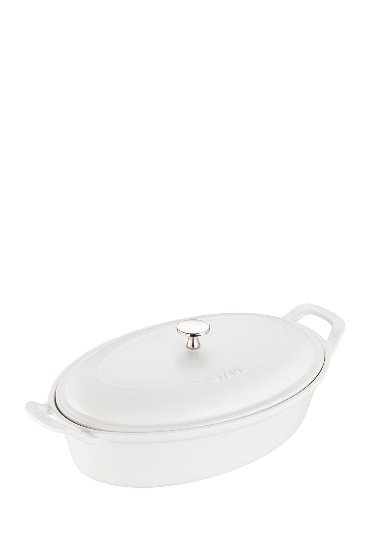 Image of Staub Ceramic 14-inch Oval Covered Baking Dish - Matte White