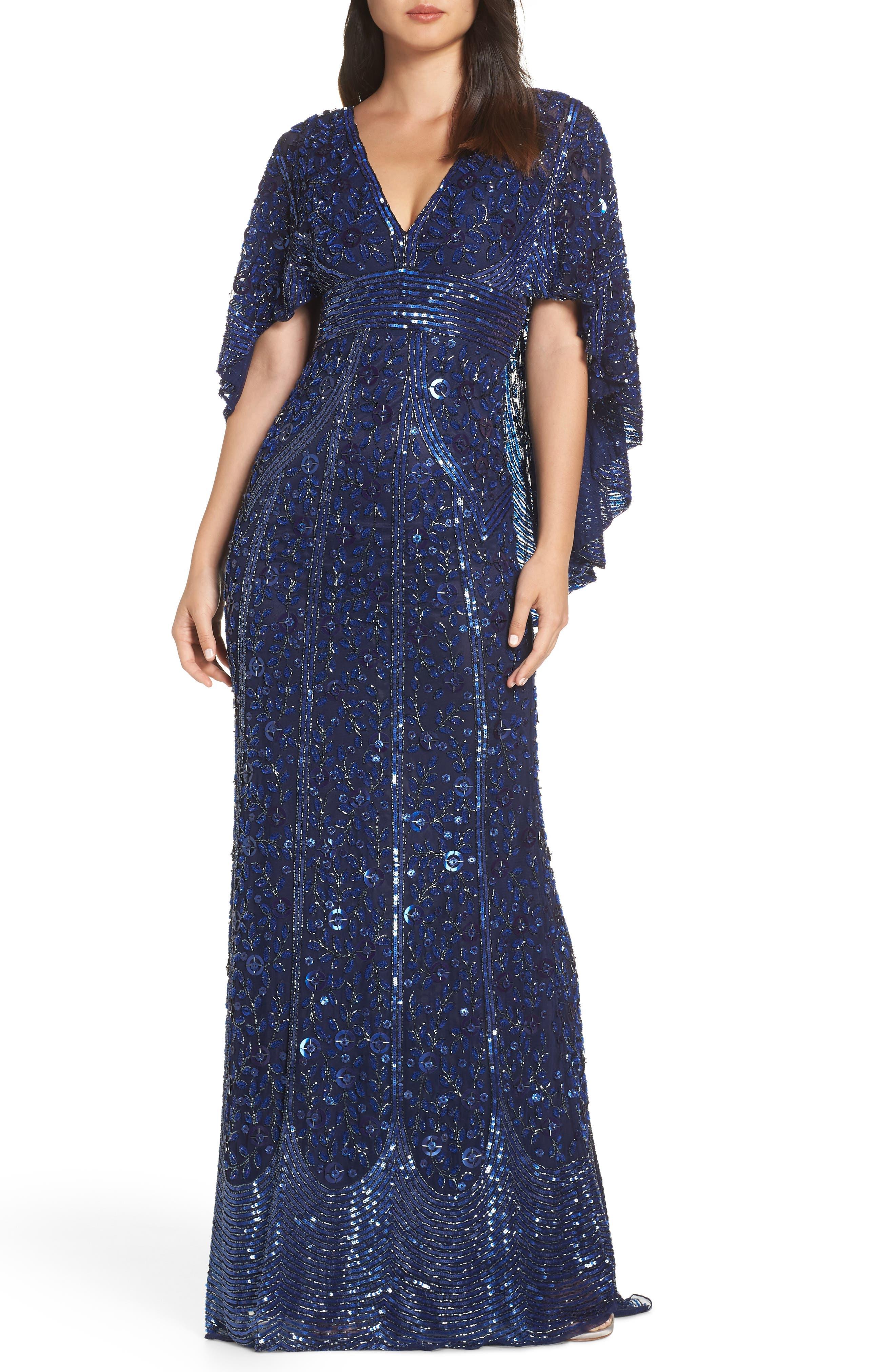 MAC Duggal Sequin Cape Sleeve Evening Dress, Blue