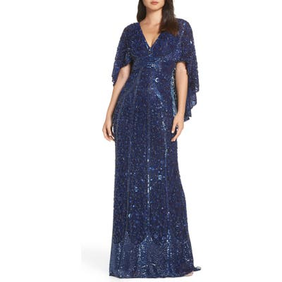 MAC Duggal Sequin Cape Sleeve Evening Dress, Blue