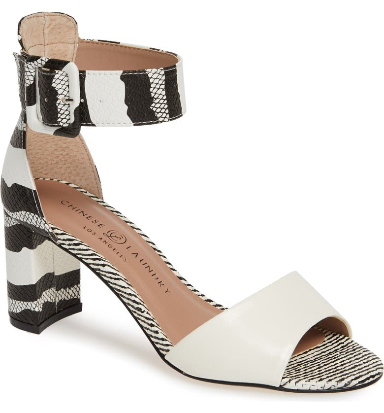 CHINESE LAUNDRY Rumor Sandal, Main, color, WHITE/BLACK PRINT FAUX LEATHER