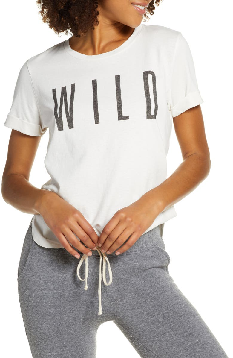 SOL ANGELES Wild Roll Sleeve Tee, Main, color, D WHITE
