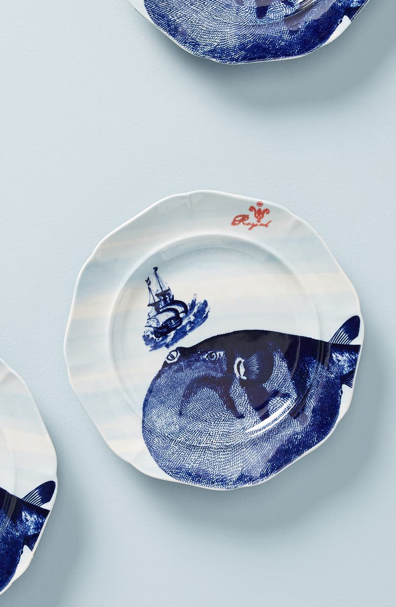 ANTHROPOLOGIE From the Deep Dessert Plate, Main, color, BLUE 1