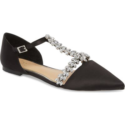 Jewel Badgley Mischka Maury Embellished T-Strap Flat, Black