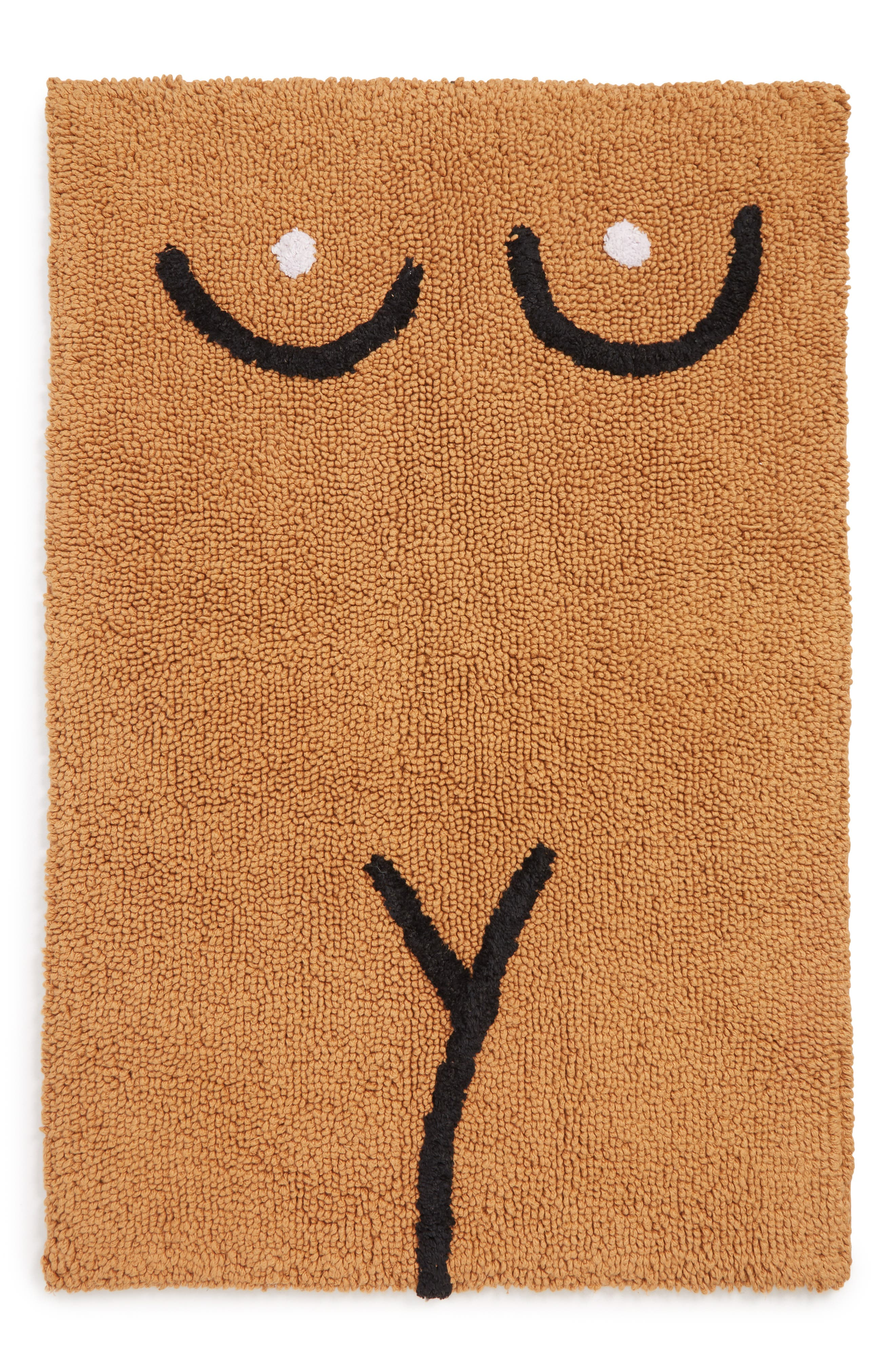 A minimalist, line-drawn female torso adds saucy, playful style to a thirsty cotton bathmat with a no-slip latex backing. Style Name: Cold Picnic Torso Bathmat. Style Number: 5652207. Available in stores.