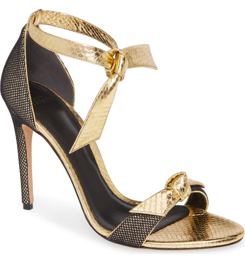 ALEXANDRE BIRMAN Clarita Fab Genuine Snakeskin Ankle Tie Sandal, Main, color, GOLD
