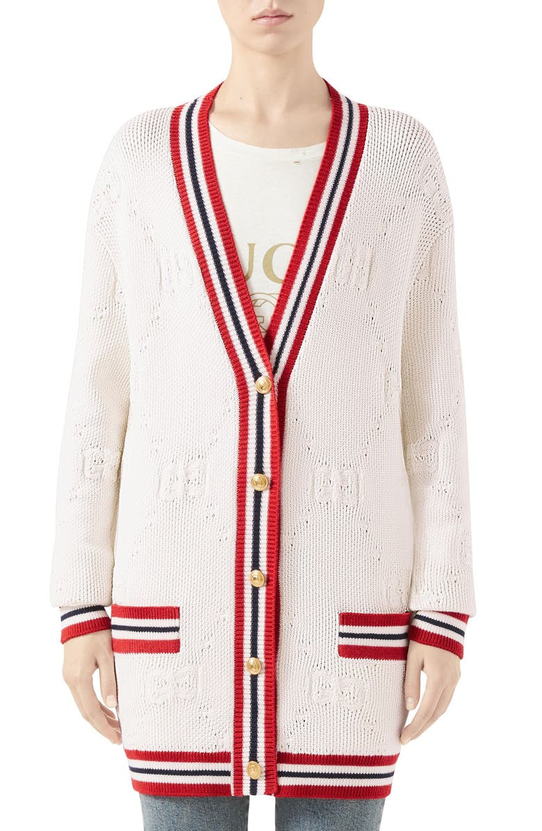 GUCCI GG Logo Embossed Long Cardigan, Main, color, IVORY/ RED