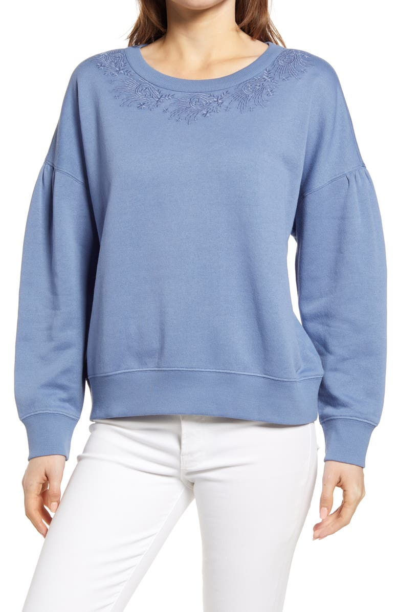 CASLON<SUP>®</SUP> Embroidered Crew Pullover, Main, color, BLUE MOONLIGHT