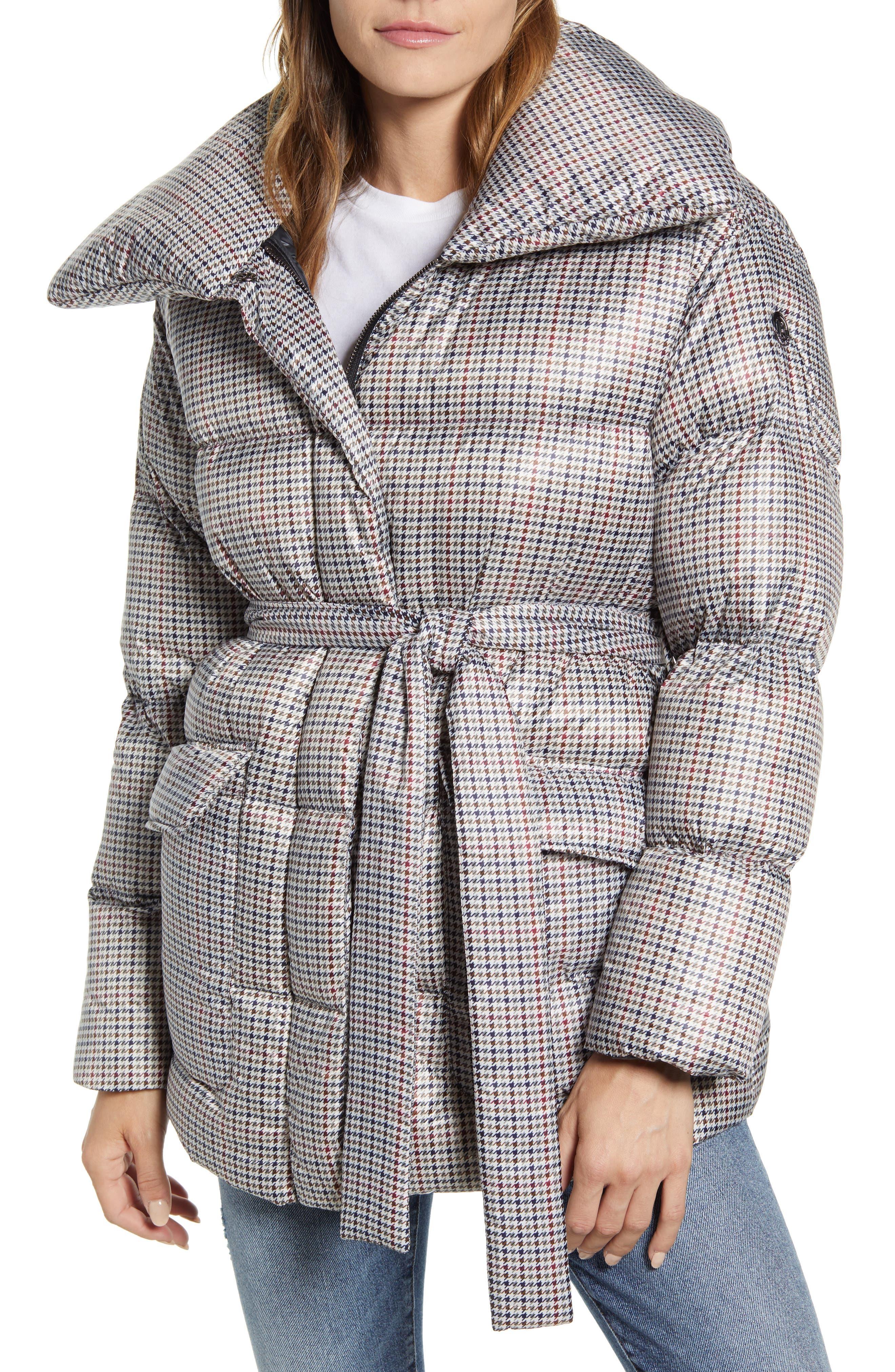 Bernardo Herringbone Print Belted Puffer Coat