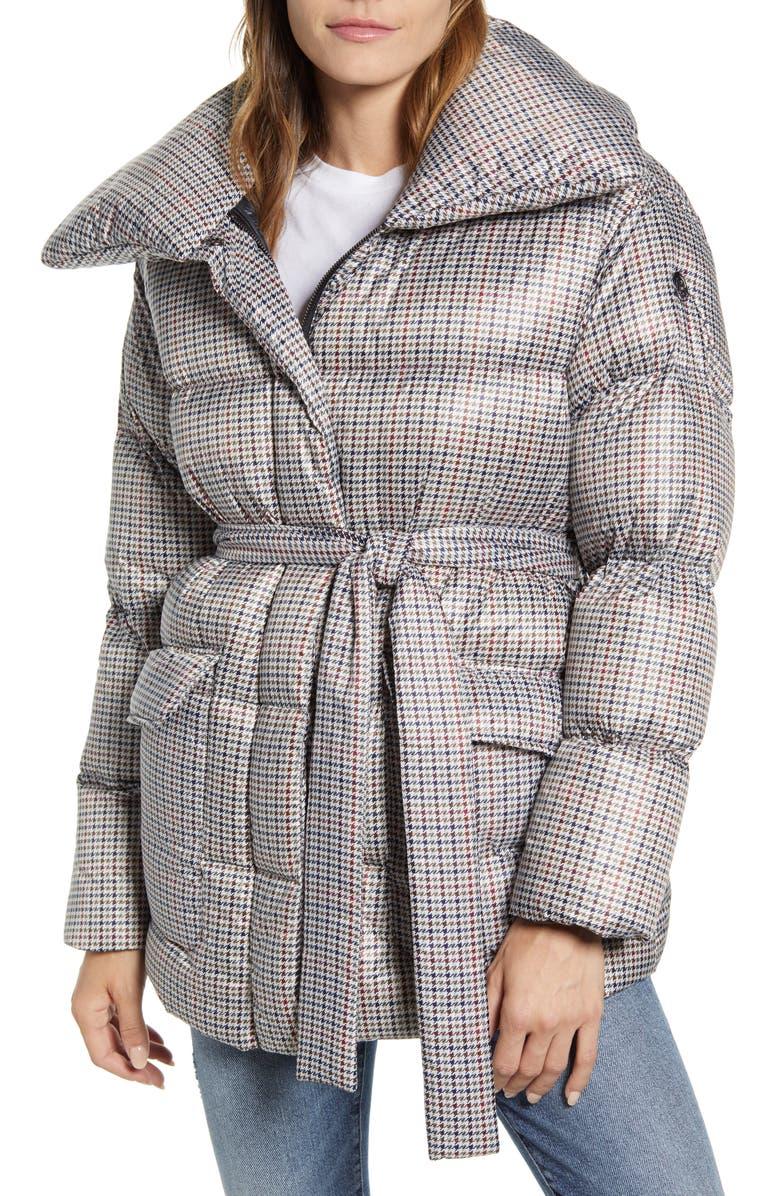 BERNARDO Herringbone Print Belted Puffer Coat, Main, color, HERRINGBONE