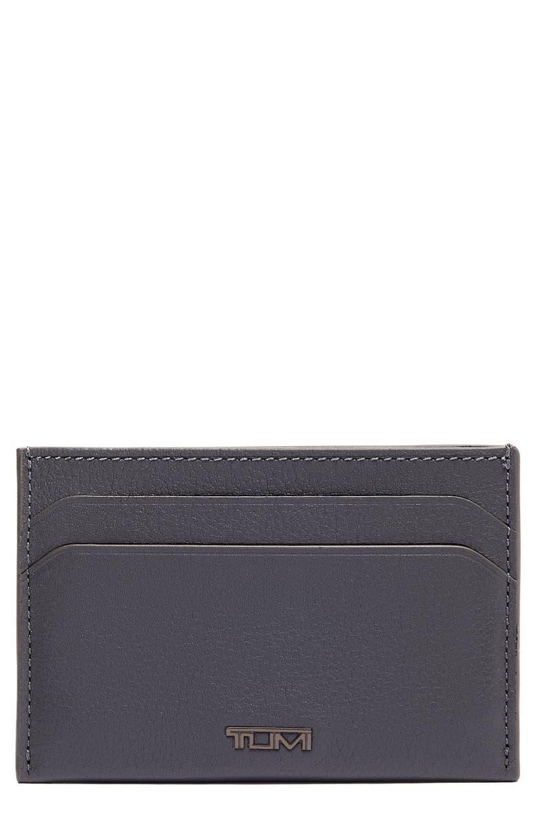 TUMI Nassau Slim Leather Card Case, Main, color, GREY TEXTURE