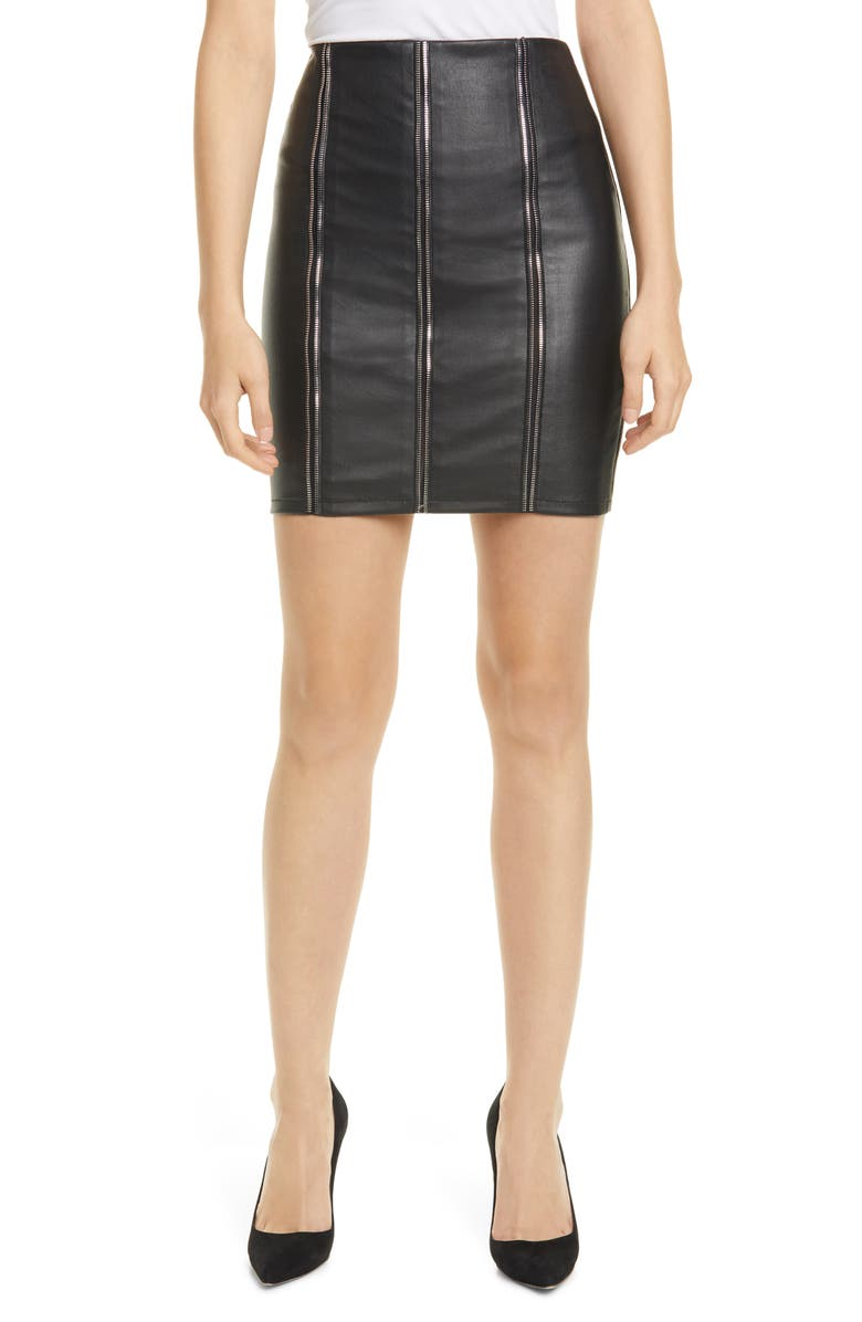 RTA Amelie Zip Detail Leather Miniskirt, Main, color, NIGHT LIFE 2