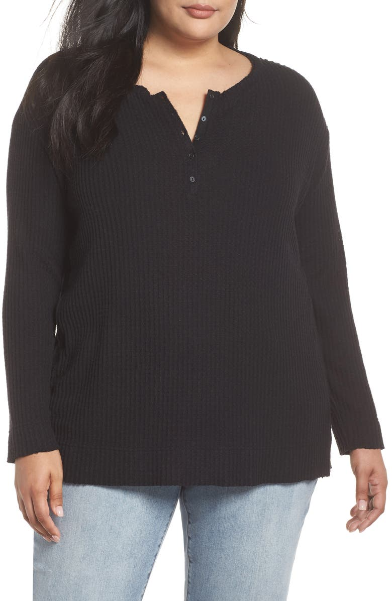 CASLON<SUP>®</SUP> Thermal Henley, Main, color, BLACK