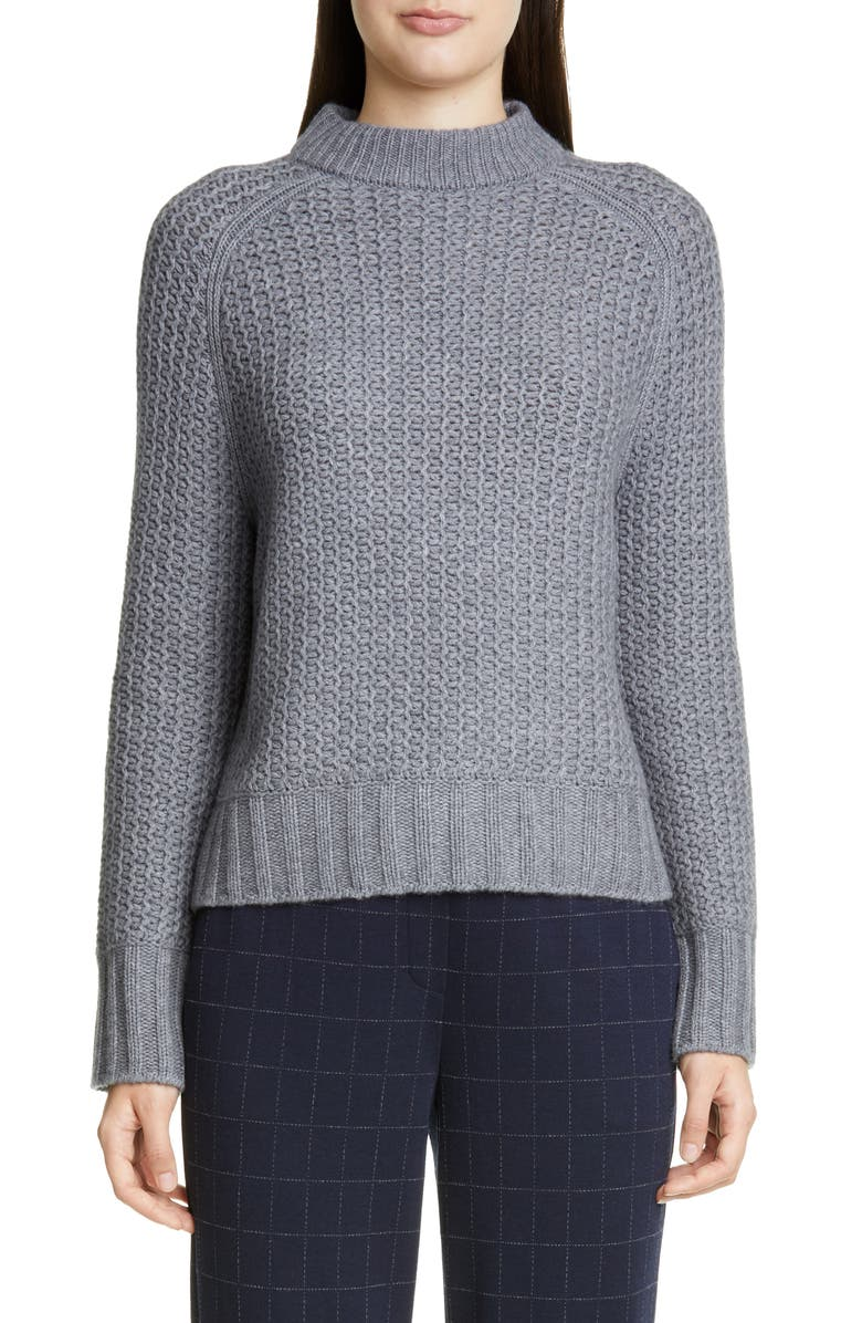 ST. JOHN COLLECTION Fashioned Cashmere Sweater, Main, color, GREY FLANELL MELANGE