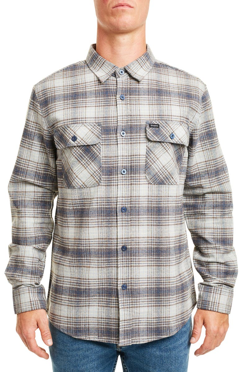 BRIXTON Bowery Plaid Button-Up Flannel Shirt, Main, color, TWILIGHT BLUE