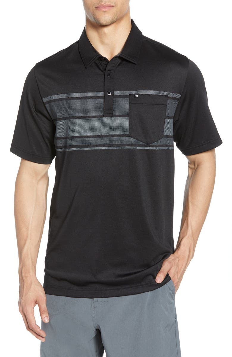 TRAVISMATHEW Casual Dining Regular Fit Performance Pocket Polo, Main, color, BLACK