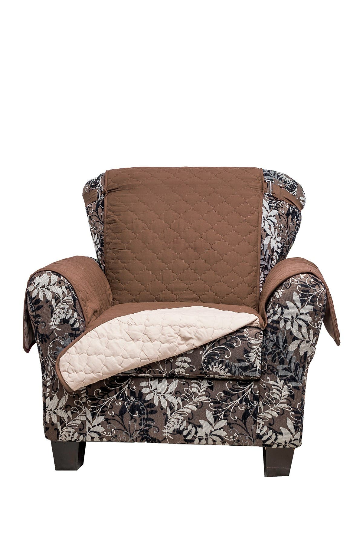 Image of Duck River Textile Chocolate/Natural Reynolda Reversible Waterproof Microfiber Chair Cover with Strap Buckles