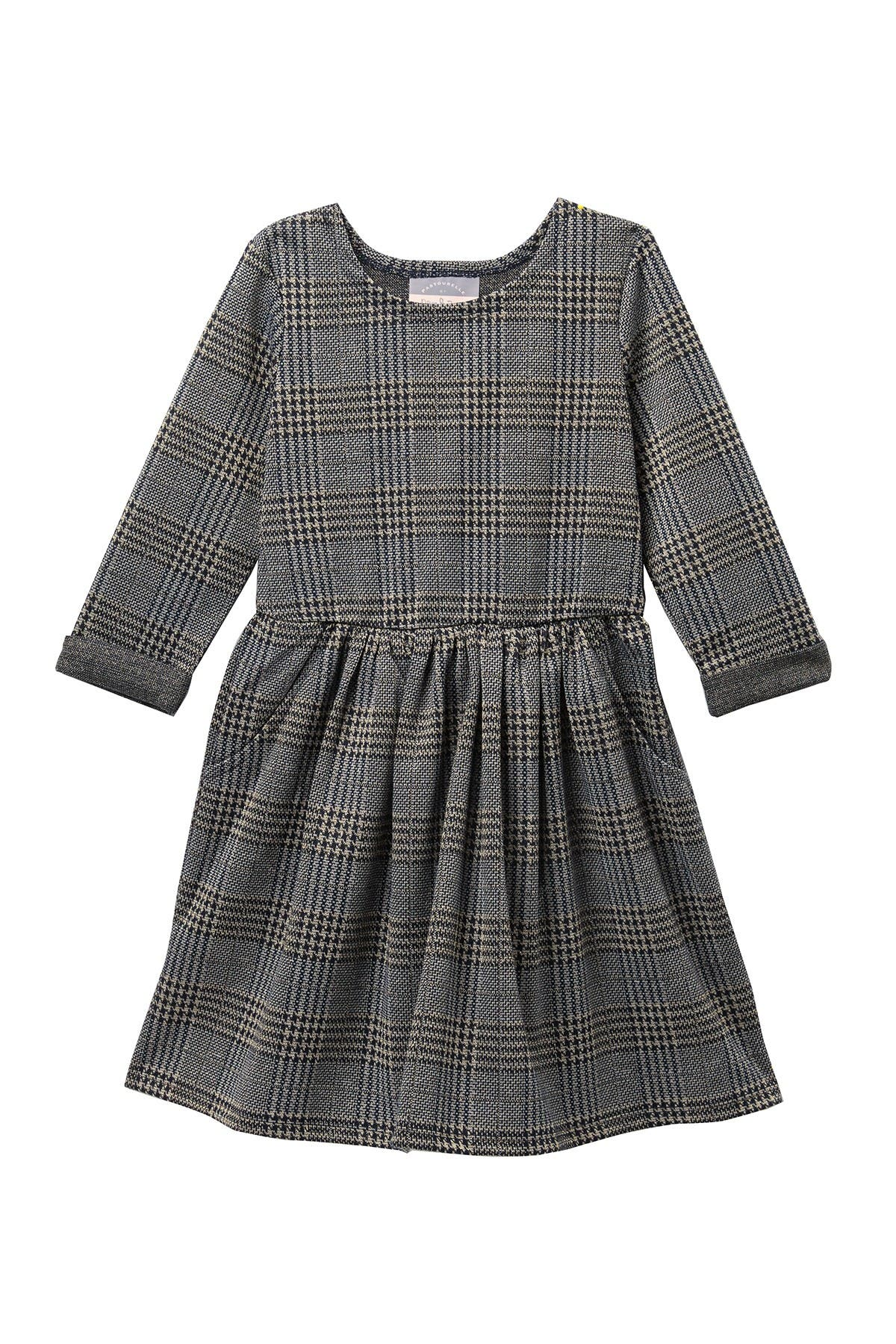 Image of Pastourelle by Pippa and Julie Three Quarter Rolled Sleeves Plaid Dress