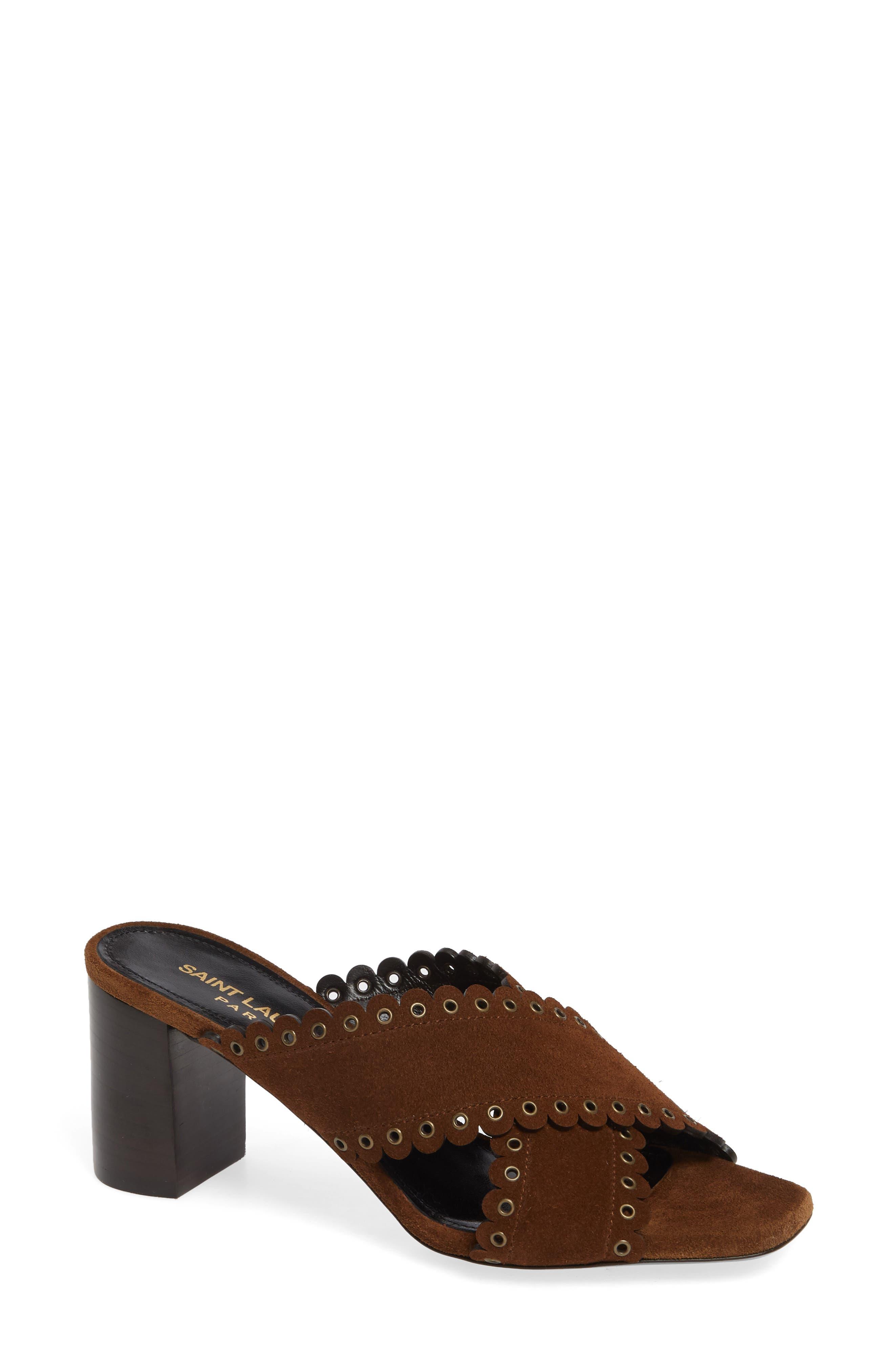 Saint Laurent Loulou Grommet Sandal, Brown