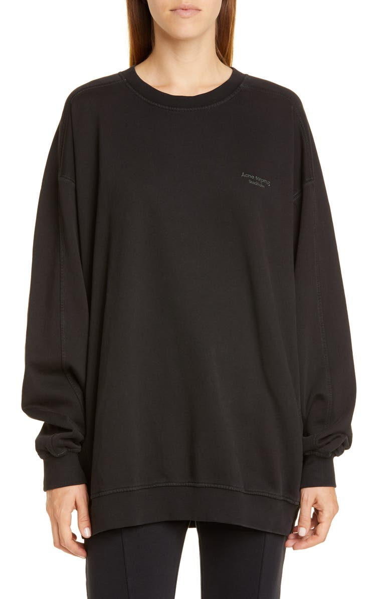 ACNE STUDIOS Embroidered Logo Sweatshirt, Main, color, BLACK/ DUSTY GREEN
