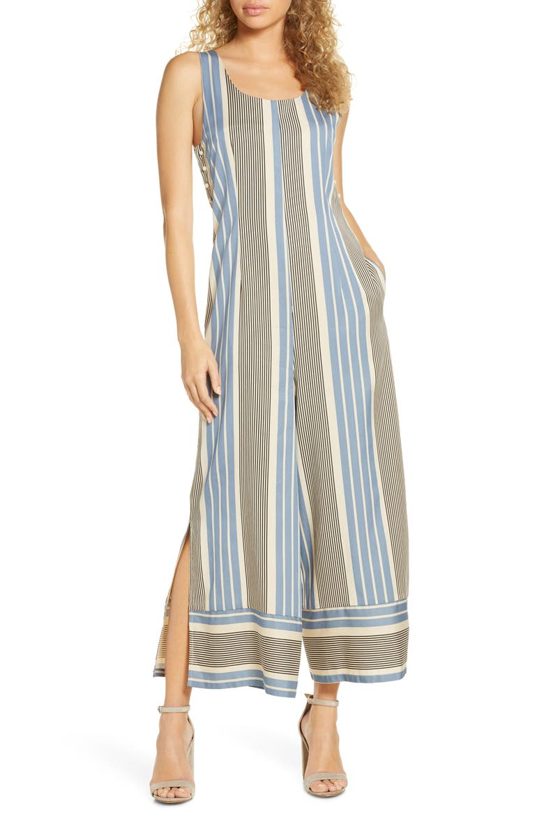 SANCIA Leondrea Wide Leg Jumpsuit, Main, color, CELESTE STRIPE