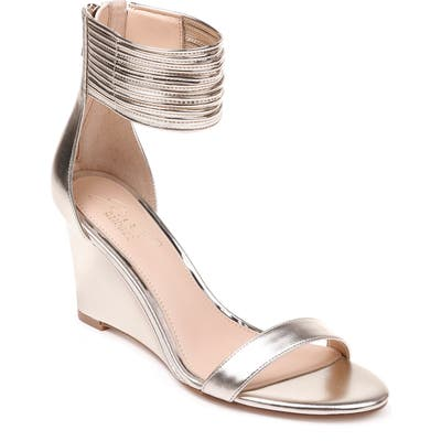 Jewel Badgley Mischka Starry Ankle Strap Wedge- Metallic